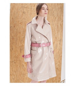 IcyNude Patent Leather Trench Coat
