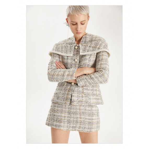 IcyNude Boat Neck Coat