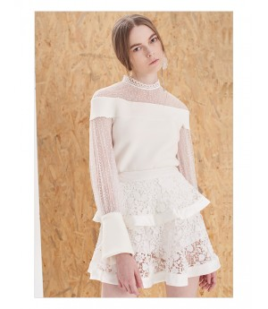 IcyNude Lace Bubble Skirt