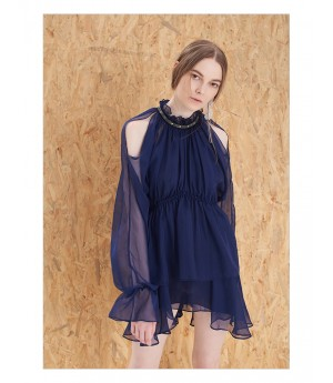 IcyNude Dark Blue Stand Collar Dress