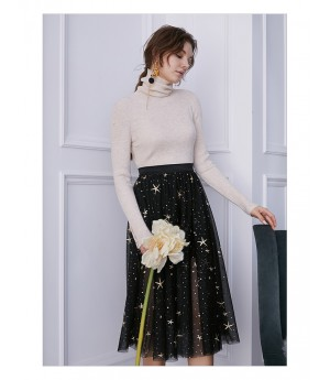 IcyNude Black Star Midi Skirt