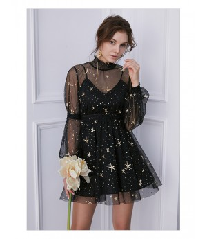 IcyNude Black Star Dress