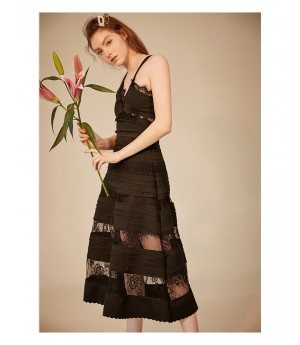IcyNude Lace Slip Dress-Black