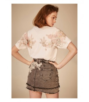 IcyNude Pearl Flower Embroidered Shirt