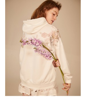IcyNude Handmade Flower Embroidered Hoodie