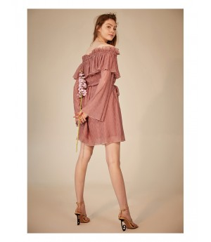 IcyNude Bell Sleeve Wrinkle Dress