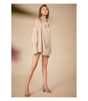 IcyNude Strapless Shoulder Long sleeve Dress-Silver
