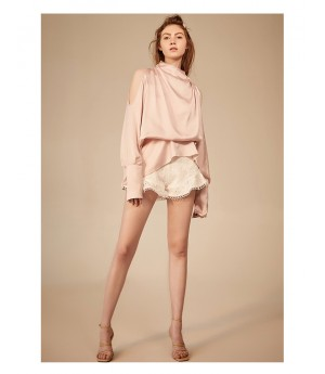 IcyNude Strapless Shoulder Long sleeve Dress-Pink