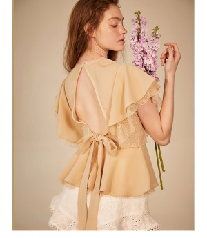 IcyNude Lotus Sleeve Apricot Lace Shirt