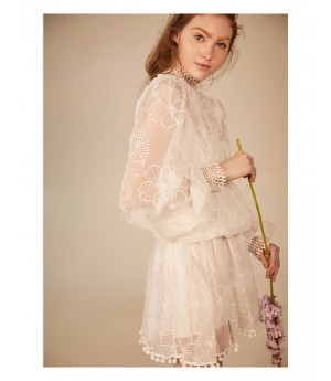 IcyNude Lace Sling Embroidery Dress