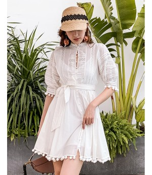 IcyNude Lace Short Babble Sleeve Dress