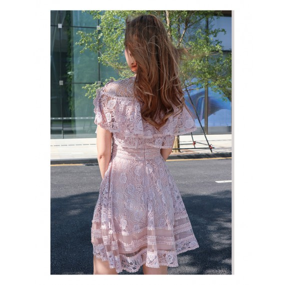 IcyNude Lotus Lace Short Dress