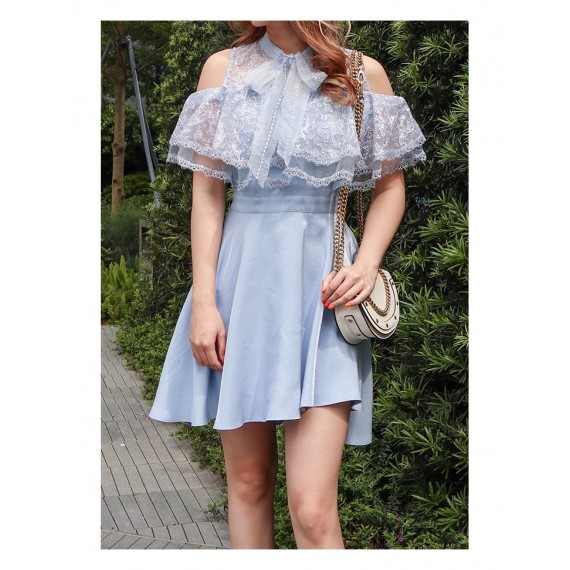 IcyNude Lotus Lace Short Dress-Blue