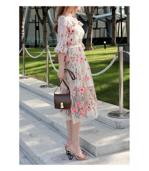 IcyNude Embroidery Pearl Morning Glory Sleeve Dress