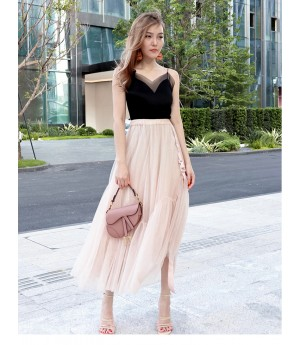 IcyNude Gauze Long Fairy Dress-Apricot