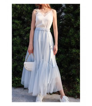 IcyNude Gauze Long Fairy Dress-Light Blue