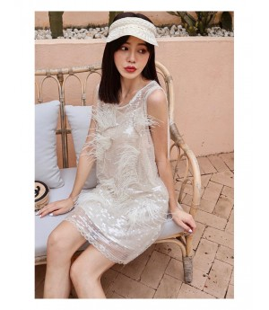 IcyNude Champagne Color Sequin Dress