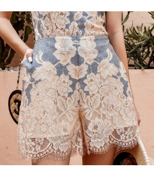 IcyNude Lace Embroidery Sling Short Set