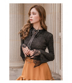 IcyNude Lace Babble Sleeve Wool Knit Top