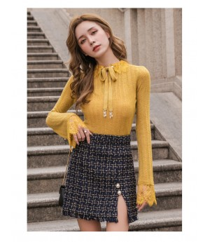 IcyNude Lace Babble Sleeve Wool Knit Top-Yellow