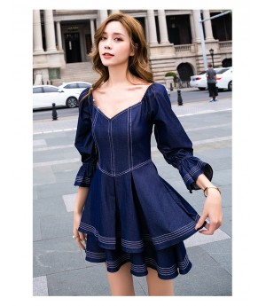 IcyNude Ins Style Retro Babble Sleeve Dress
