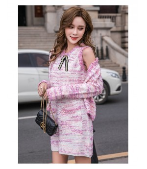 IcyNude Chanel Style Pearl Knit Dress&Coat
