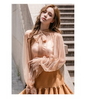 IcyNude Retro Palace Style Babble Sleeve Shirt