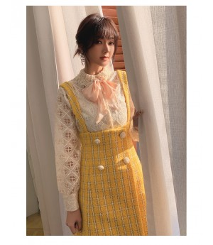 IcyNude Yellow Lattice Woolen Dress
