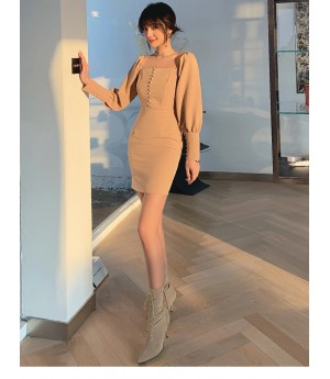IcyNude Khaki Line Shoulder Dress