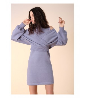 Istyni High Neck Dress-Blue