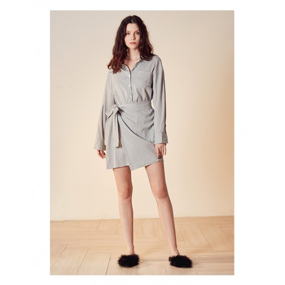 Istyni Shirt Dress with Bowknot Belt