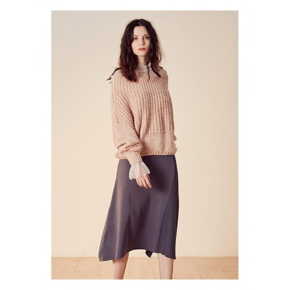 Istyni Asymmetric Knit Skirt-Grey