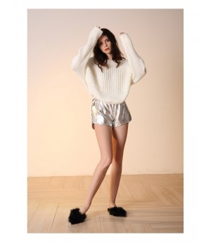 Istyni Patent Leather Shorts-Silver