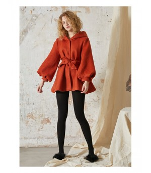 Istyni Hoodie Coat-Orange