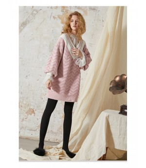 Istyni Knitting Sweater Dress-Pink
