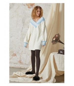 Istyni Knitting Sweater Dress-White