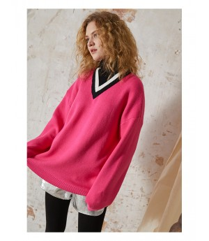 Istyni High Neck Sweater-Pink