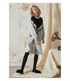 Istyni Black and Grey Straight Dress