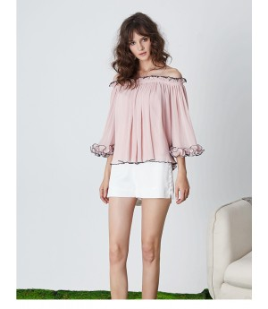 Istyni Pink Off-Shoulder Top