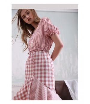 Istyni Pink Plaid Dress