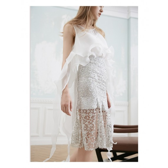 Istyni Silver Lace Skirt