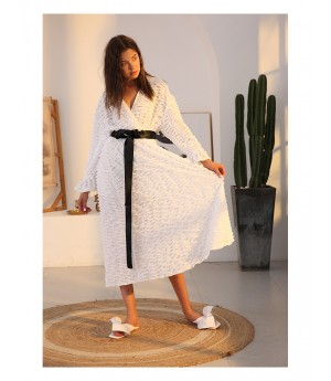 Istyni White Dress with Black Belt