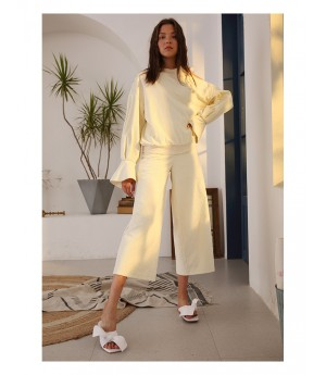 Istyni White Wide Leg Pants