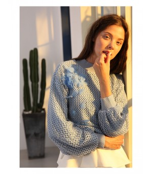 Istyni Flower Sweater-Blue