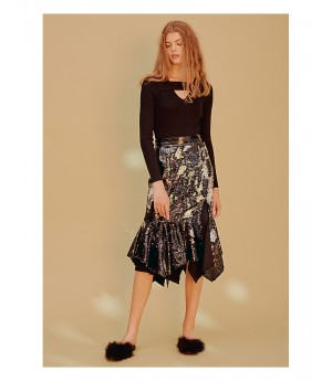 Istyni Paillette Fishtail Skirt-Silver