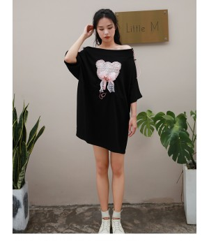 Istyni Lace Bear Shirt Dress-Black
