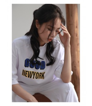 Istyni Letter Shirt&Pants Two-Set-White
