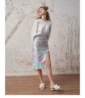 Istyni Silver Leather Skirt