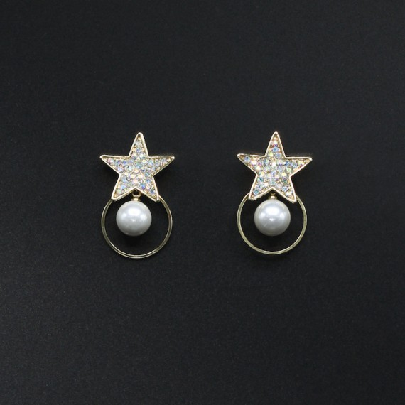 Sparkling Star Pearl Earrings