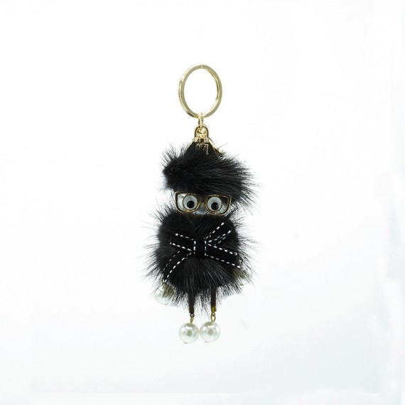 Black Glasses Funny Bag Charm
